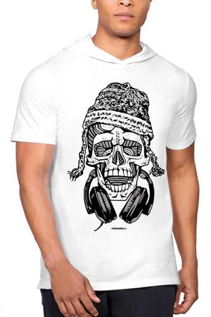Rock & Roll - Nepalli Kurukafa Beyaz Kapşonlu Kısa Kollu Erkek T-shirt