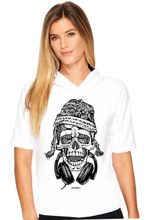 Rock & Roll - Nepalli Kurukafa Beyaz Kapşonlu Kısa Kollu Kadın T-shirt