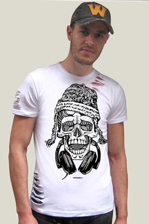 Rock & Roll - Nepalli Kurukafa Kısa Kollu Yırtık Ripped Beyaz T-shirt