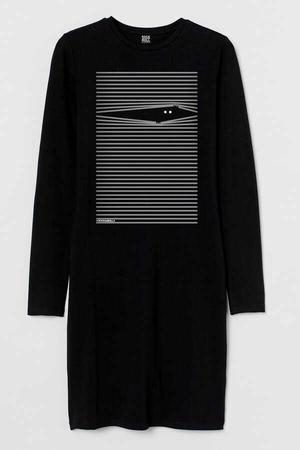 - Noluya Ya Uzun Kollu Kadın | Bayan Siyah Penye T-shirt Elbise