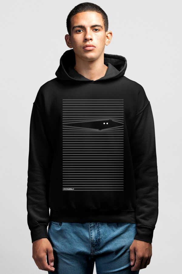 Noluyo Ya Siyah Kapşonlu Erkek Sweatshirt