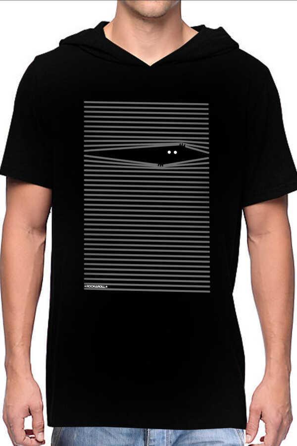 Noluyo Ya Siyah Kapşonlu Kısa Kollu Erkek T-shirt