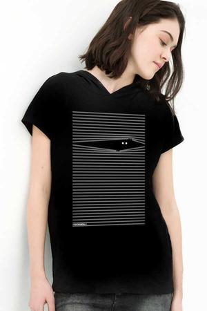 Rock & Roll - Noluyo Ya Siyah Kapşonlu Kısa Kollu Kadın T-shirt