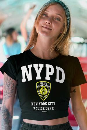 Rock & Roll - NYPD Kısa, Kesik Crop Top Siyah Kadın | Bayan Tişört