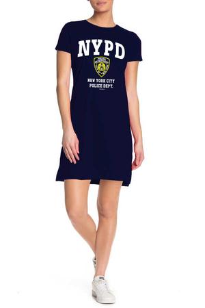 Rock & Roll - NYPD Kısa Kollu Penye Kadın   Bayan Lacivert T-shirt Elbise