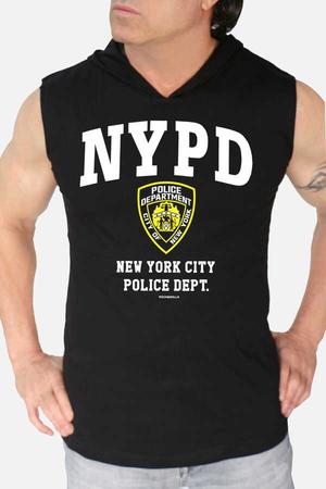 - NYPD Siyah Kapşonlu Kesik Kol   Kolsuz Erkek T-shirt   Atlet