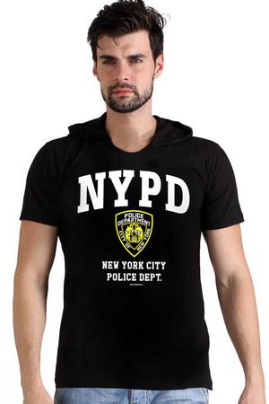 Rock & Roll - NYPD Siyah Kapşonlu Kısa Kollu Erkek T-shirt