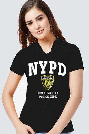 Rock & Roll - NYPD Siyah Kapşonlu Kısa Kollu Kadın T-shirt