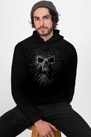 - Örümcek Kurukafa Siyah Kapüşonlu Erkek Sweatshirt
