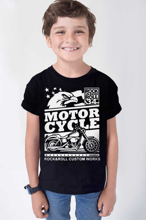 Rock & Roll - Özel Yapım Moto Kısa Kollu Siyah Çocuk T-shirt