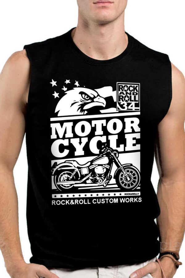 Özel Yapım Moto Siyah Kesik Kol   Kolsuz Erkek T-shirt   Atlet