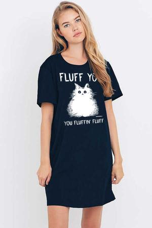 - Pofuduk Kısa Kollu Penye Kadın | Bayan Lacivert T-shirt Elbise