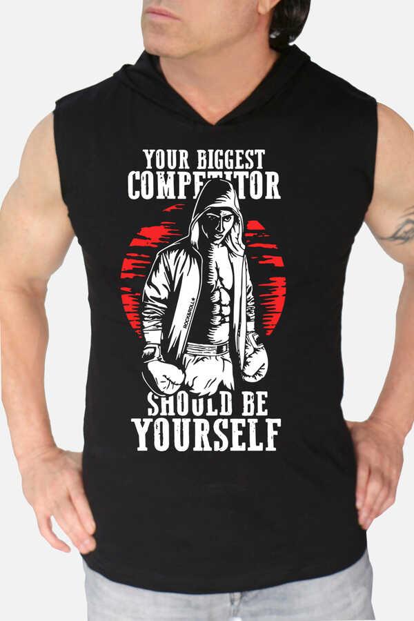 Rakipsiz Boksör Siyah Kapşonlu Kesik Kol | Kolsuz Erkek T-shirt | Atlet