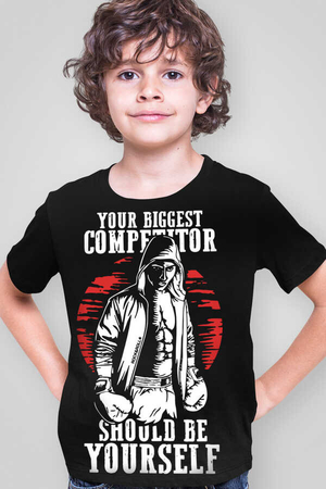 Rock & Roll - Rakipsiz Boksör Siyah Kısa Kollu Çocuk T-shirt