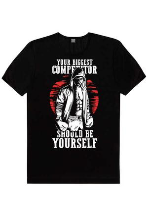 Rock & Roll - Rakipsiz Boksör Siyah Kısa Kollu Erkek T-shirt