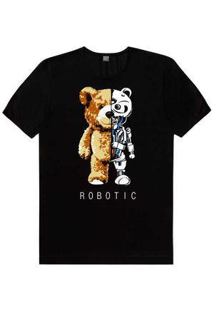 - Robot Ayı Kısa Kollu Siyah Erkek T-shirt