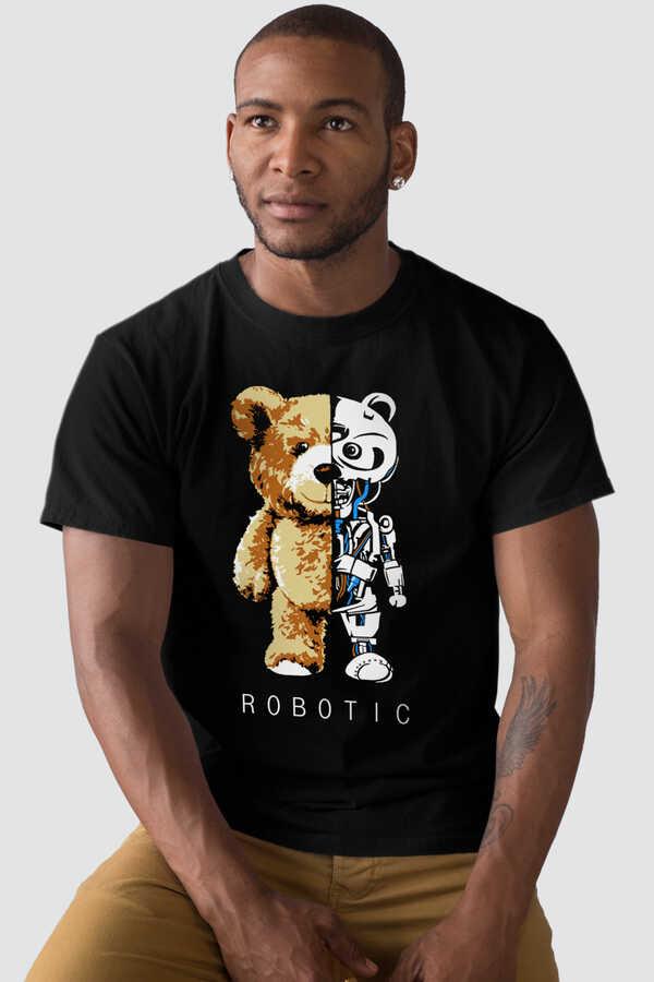 Robot Ayı Kısa Kollu Siyah Erkek T-shirt
