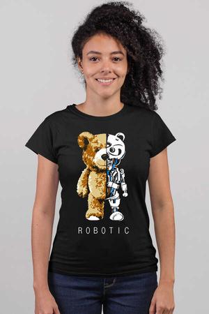 - Robot Ayı Kısa Kollu Siyah Kadın T-shirt