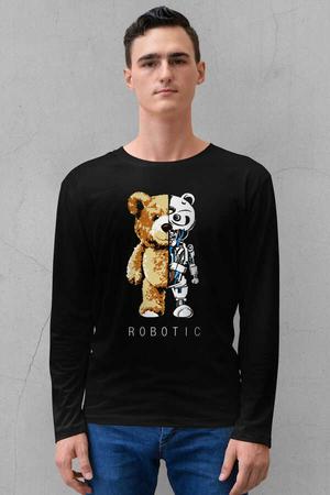 - Robot Ayı Siyah Bisiklet Yaka Uzun Kollu Penye Erkek T-shirt