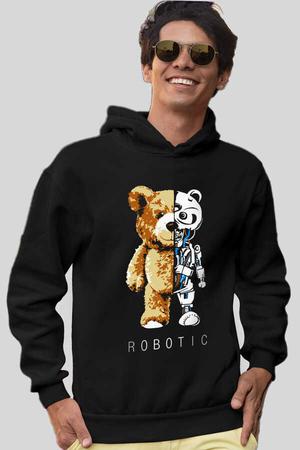 - Robot Ayı Siyah Kapüşonlu Kalın Erkek Sweatshirt