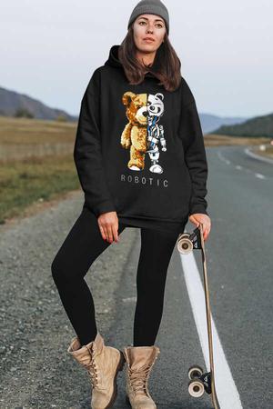 - Robot Ayı Siyah Kapüşonlu Kalın Oversize Kadın Sweatshirt