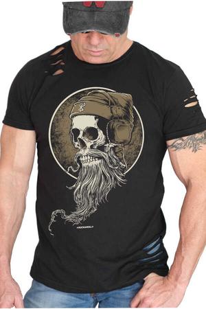 Rock & Roll - Sakallı Kurukafa Kısa Kollu Yırtık Siyah T-shirt