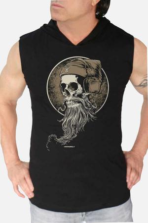 Rock & Roll - Sakallı Kurukafa Siyah Kapşonlu Kesik Kol | Kolsuz Erkek T-shirt
