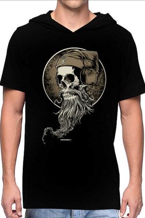 Rock & Roll - Sakallı Kurukafa Siyah Kapşonlu Kısa Kollu Erkek T-shirt