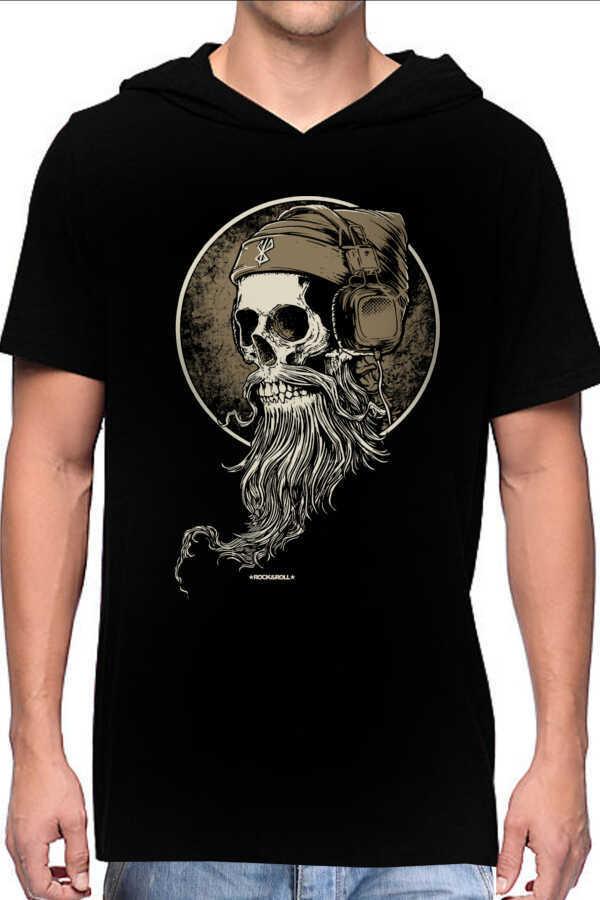 Sakallı Kurukafa Siyah Kapşonlu Kısa Kollu Erkek T-shirt