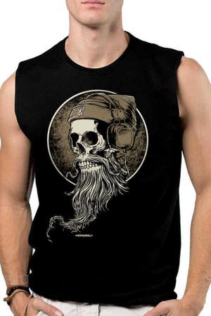 Rock & Roll - Sakallı Kurukafa Siyah Kesik Kol | Kolsuz Erkek T-shirt | Atlet