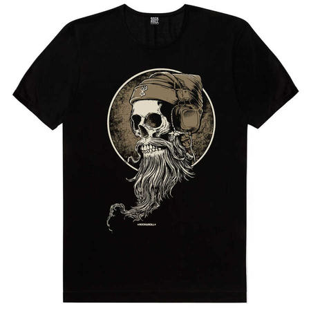 Rock & Roll - Sakallı Kurukafa Siyah Kısa Kollu Erkek T-shirt