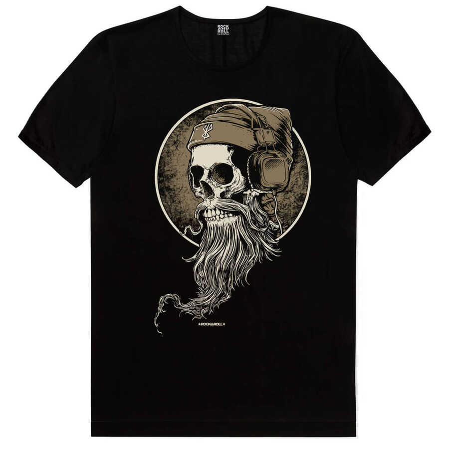 Sakallı Kurukafa Siyah Kısa Kollu Erkek T-shirt