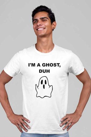 Sevimli Hayalet Kısa Kollu Beyaz Erkek T-shirt - Thumbnail