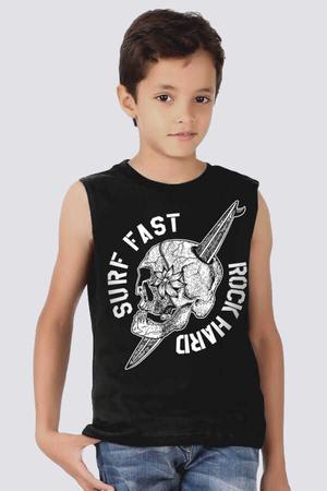 Rock & Roll - Sörf Kurukafa Kesik Kol | Kolsuz Siyah Çocuk Tişört | Atlet