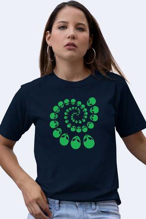- Spiral Uzaylılar Kısa Kollu Lacivert Kadın T-shirt