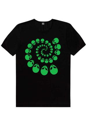 - Spiral Uzaylılar Kısa Kollu Siyah Erkek T-shirt