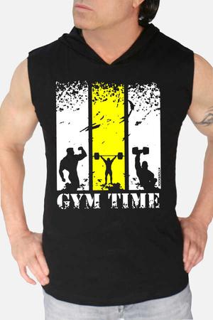 - Spor Vakti Siyah Kapşonlu Kesik Kol   Kolsuz Erkek T-shirt   Atlet