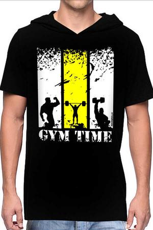 - Spor Vakti Siyah Kapşonlu Kısa Kollu Erkek T-shirt