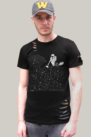 Rock & Roll - Süpürgeli Astronot Kısa Kollu Yırtık Siyah T-shirt