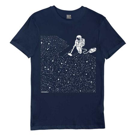 Rock & Roll - Süpürgeli Astronot Lacivert Kısa Kollu Erkek T-shirt