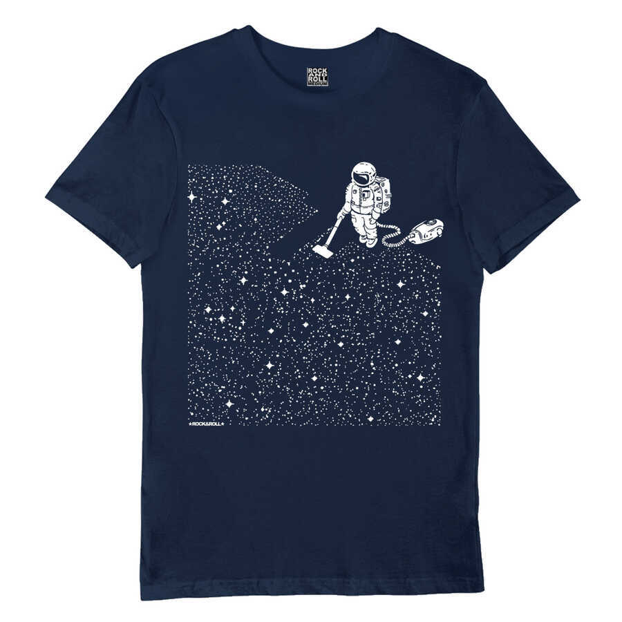 Süpürgeli Astronot Lacivert Kısa Kollu Erkek T-shirt