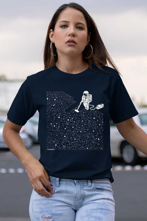 Rock & Roll - Süpürgeli Astronot Lacivert Kısa Kollu Kadın T-shirt