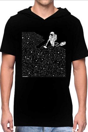 Rock & Roll - Süpürgeli Astronot Siyah Kapşonlu Kısa Kollu Erkek T-shirt