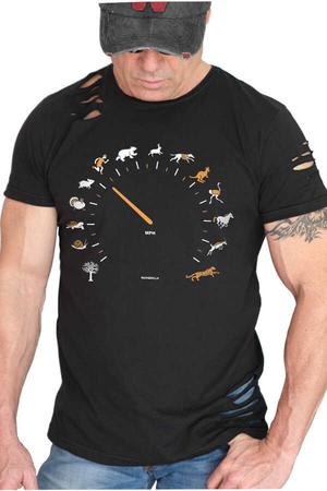 Rock & Roll - Sürat Göstergesi Kısa Kollu Yırtık Siyah T-shirt