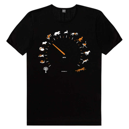 Rock & Roll - Sürat Göstergesi Siyah Kısa Kollu Erkek T-shirt