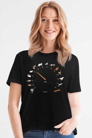 Rock & Roll - Sürat Göstergesi Siyah Kısa Kollu Kadın T-shirt