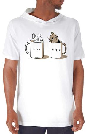 Rock & Roll - Sütlü Sade Beyaz Kapşonlu Kısa Kollu Erkek T-shirt