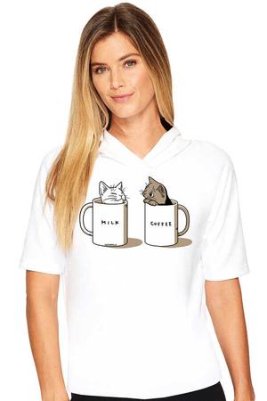 Rock & Roll - Sütlü Sade Beyaz Kapşonlu Kısa Kollu Kadın T-shirt