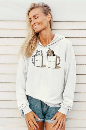 - Sütlü Sade Beyaz Kapüşonlu Kadın Sweatshirt