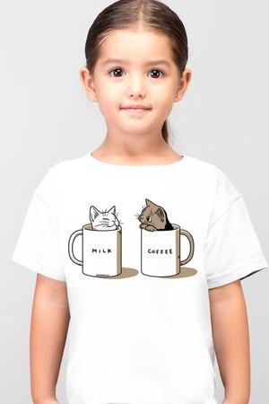 Rock & Roll - Sütlü Sade Beyaz Kısa Kollu Çocuk T-shirt
